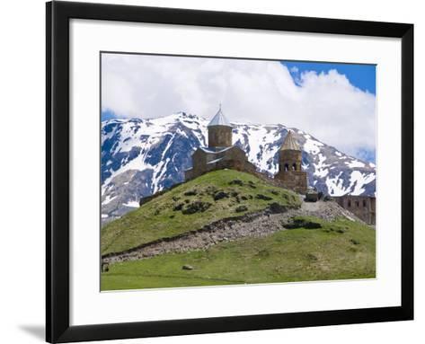 Famous Tsminda Sameba Church, Kazbegi, Georgia, Caucasus, Central Asia, Asia--Framed Art Print