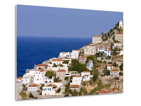 The Town of Hydra on the Island of Hydra, Greek Islands, Greece, Europe--Metal Print