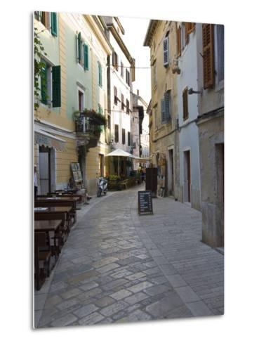 Little Alley in Porec, Istria, Croatia, Europe--Metal Print