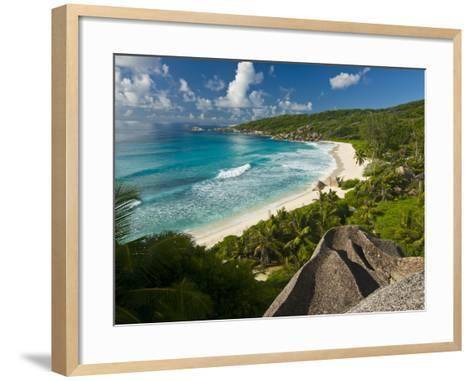 View Over the Beach of Grand Anse, La Digue, Seychelles, Indian Ocean, Africa--Framed Art Print