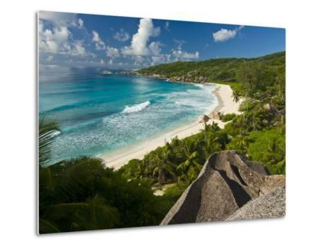 View Over the Beach of Grand Anse, La Digue, Seychelles, Indian Ocean, Africa--Metal Print