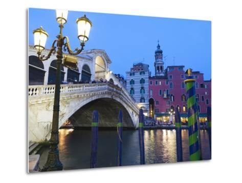 Rialto Bridge on the Grand Canal, Venice, UNESCO World Heritage Site, Veneto, Italy, Europe--Metal Print