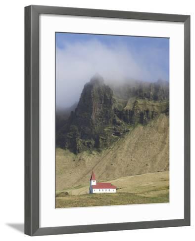 Icelandic Church Dwarfed By Mountains Rising Into Mist, Vik I Myrdal, South Iceland, Iceland--Framed Art Print