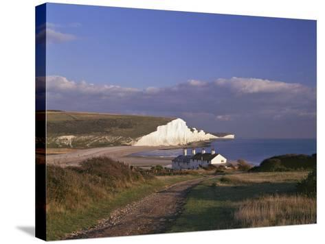 White Chalk Cliffs of the Seven Sisters at Cuckmere Haven, Seen From Near Seaford, East Sussex--Stretched Canvas Print