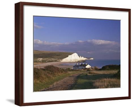 White Chalk Cliffs of the Seven Sisters at Cuckmere Haven, Seen From Near Seaford, East Sussex--Framed Art Print