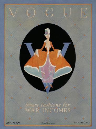 Vogue Cover - April 1918-Dorothy Edinger-Stretched Canvas Print