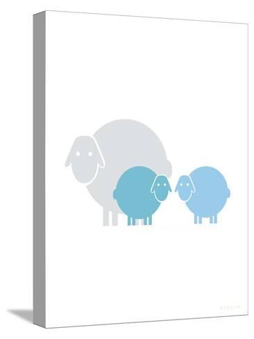 Aqua Baby Sheep-Avalisa-Stretched Canvas Print