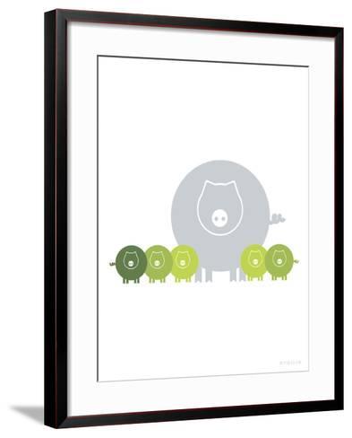 Lime Baby Pigs-Avalisa-Framed Art Print