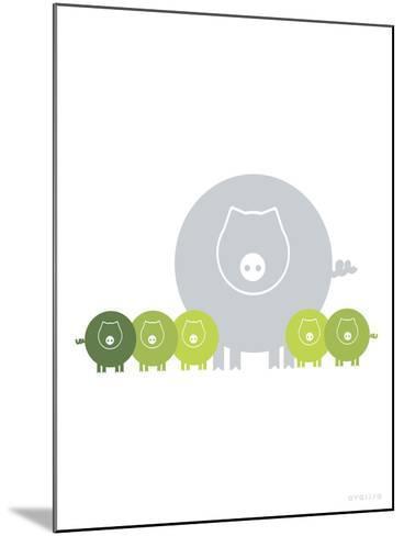 Lime Baby Pigs-Avalisa-Mounted Art Print