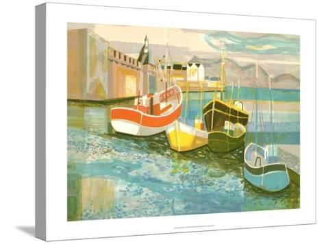 Boats in Harbor II-George Lambert-Stretched Canvas Print