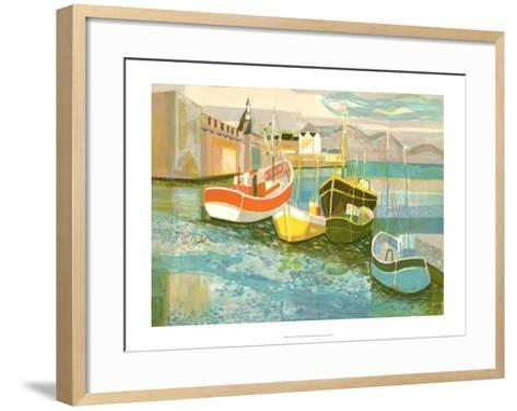 Boats in Harbor II-George Lambert-Framed Art Print