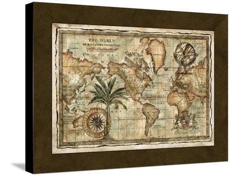 World Map with Globe--Stretched Canvas Print