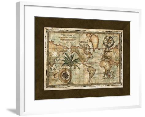 World Map with Globe--Framed Art Print