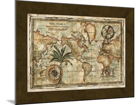 World Map with Globe--Mounted Art Print