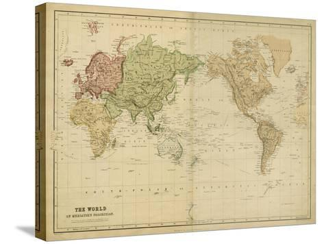 The World on Mercators Projection-Vision Studio-Stretched Canvas Print