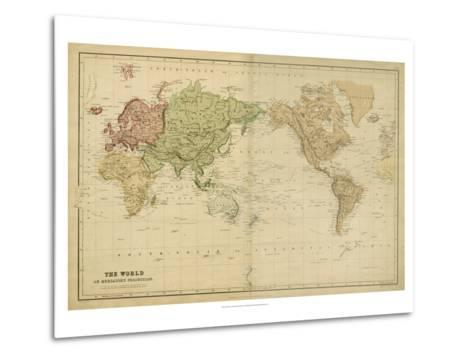The World on Mercators Projection-Vision Studio-Metal Print