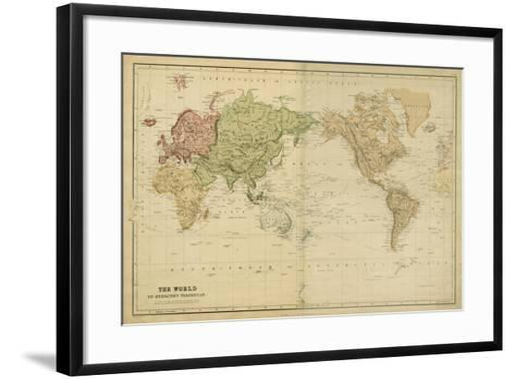 The World on Mercators Projection-Vision Studio-Framed Art Print