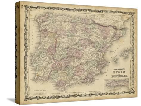 Johnson's Map of Spain & Portugal--Stretched Canvas Print