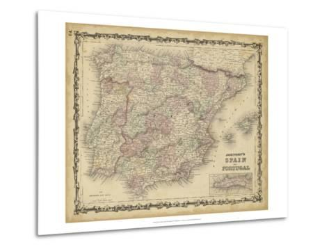 Johnson's Map of Spain & Portugal--Metal Print