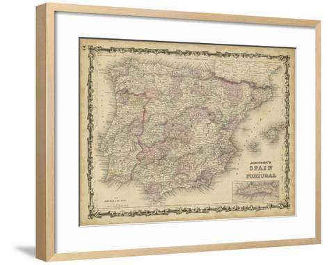 Johnson's Map of Spain & Portugal--Framed Art Print