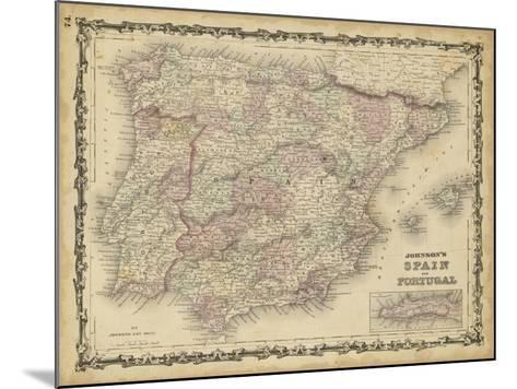 Johnson's Map of Spain & Portugal--Mounted Art Print
