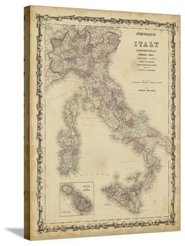 Johnson's Map of Italy--Stretched Canvas Print