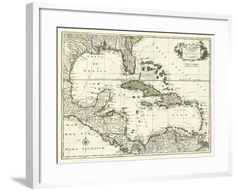 Map of the Gulf of Mexico--Framed Art Print