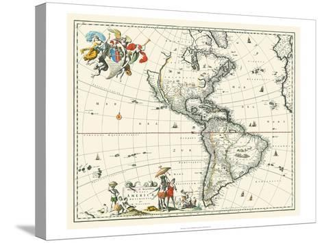 Map of America--Stretched Canvas Print