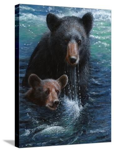 Bearly Swimming-Kevin Daniel-Stretched Canvas Print