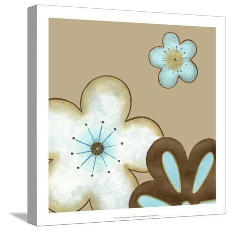 Pop Blossoms in Blue I-Erica J^ Vess-Stretched Canvas Print