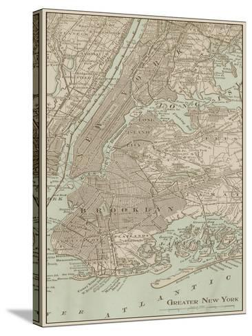 Tinted Map of New York--Stretched Canvas Print