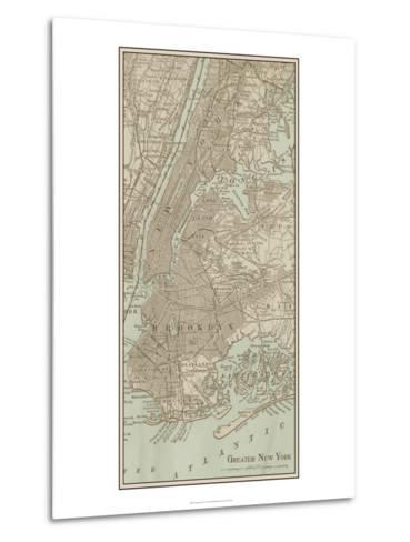 Tinted Map of New York--Metal Print