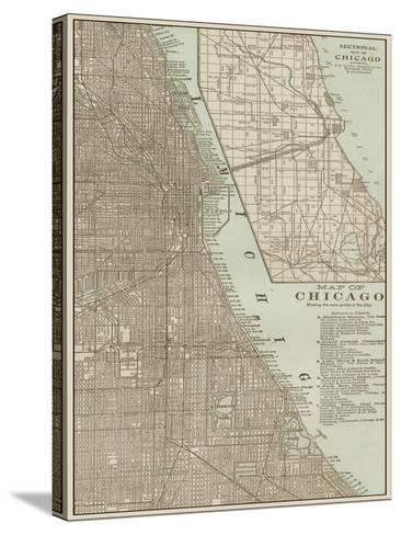 Tinted Map of Chicago--Stretched Canvas Print