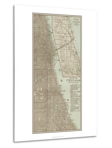 Tinted Map of Chicago--Metal Print
