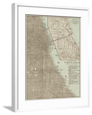 Tinted Map of Chicago--Framed Art Print
