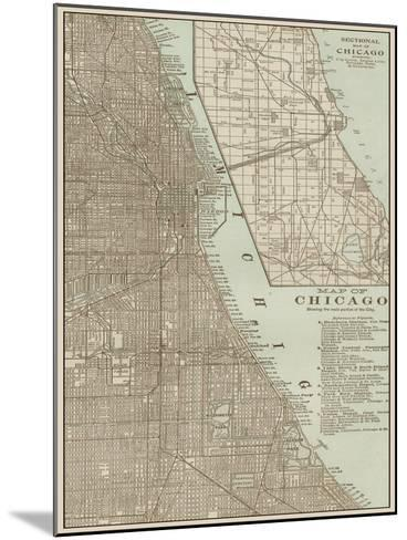 Tinted Map of Chicago--Mounted Art Print