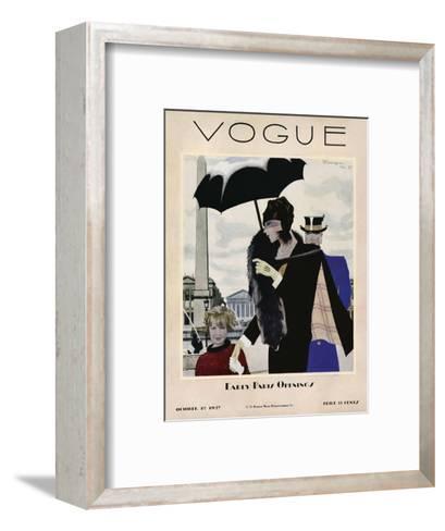 Vogue Cover - October 1927-Pierre Mourgue-Framed Art Print