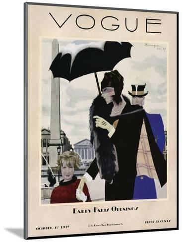 Vogue Cover - October 1927-Pierre Mourgue-Mounted Premium Giclee Print