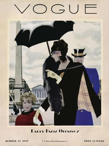 Vogue Cover - October 1927-Pierre Mourgue-Stretched Canvas Print