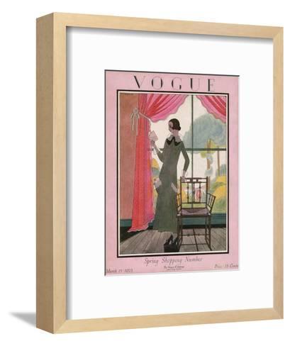 Vogue Cover - March 1923-Harriet Meserole-Framed Art Print