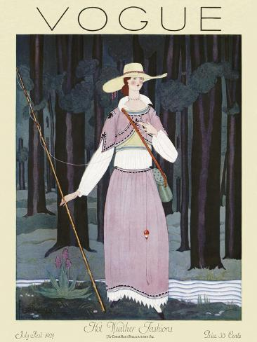 Vogue Cover - July 1924-Georges Lepape-Stretched Canvas Print