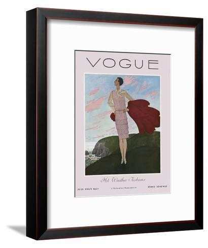 Vogue Cover - July 1927-Pierre Brissaud-Framed Art Print