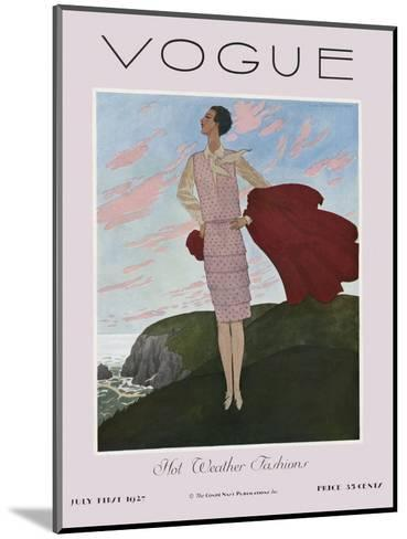 Vogue Cover - July 1927-Pierre Brissaud-Mounted Premium Giclee Print