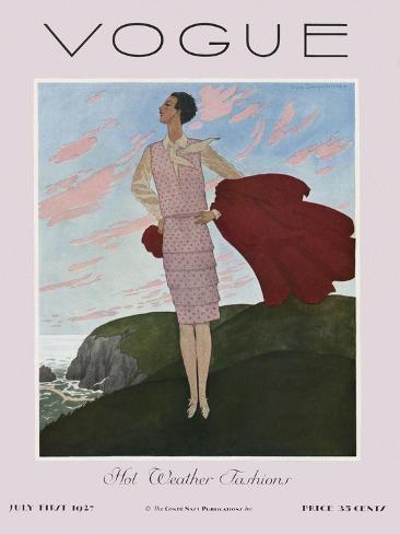 Vogue Cover - July 1927-Pierre Brissaud-Stretched Canvas Print