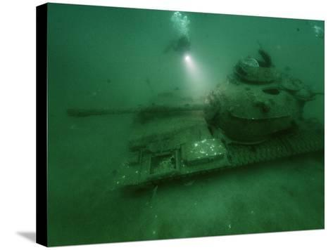 A Tank Sunk in a Zone of Artificial Reefs Off the Coast of Alabama-David Doubilet-Stretched Canvas Print