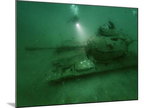 A Tank Sunk in a Zone of Artificial Reefs Off the Coast of Alabama-David Doubilet-Mounted Photographic Print