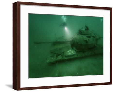 A Tank Sunk in a Zone of Artificial Reefs Off the Coast of Alabama-David Doubilet-Framed Art Print