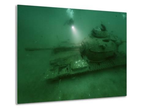 A Tank Sunk in a Zone of Artificial Reefs Off the Coast of Alabama-David Doubilet-Metal Print