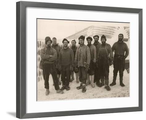 Members of Scott's Expedition Team-Herbert Ponting-Framed Art Print