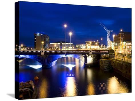 Dusk View at Laganside in Belfast-Chris Hill-Stretched Canvas Print